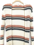 BP Pink & Grey Ribbed Duster Cardigan- Size S