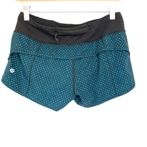 Lululemon Black and Teal Dot Speed Shorts- Size 4