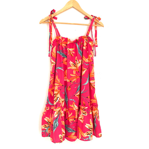 Peach Love Hot Pink Floral Tie Strap Dress- Size S