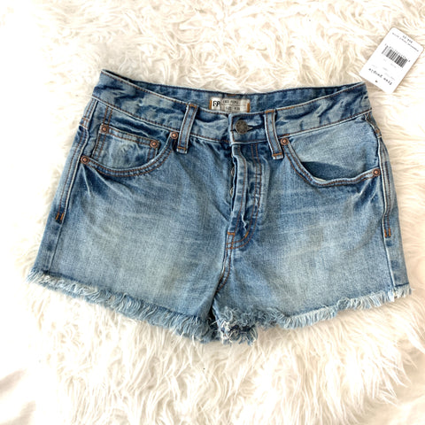 Free People Camp Fringe Denim Shorts NWT- Size 25