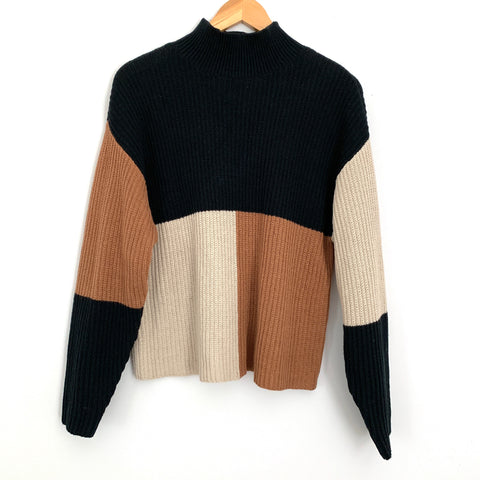 BP Mock Neck Color Block Sweater- Size S