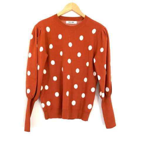 DO+BE Rust Polka Dot Bubble Sleeve Sweater- Size S