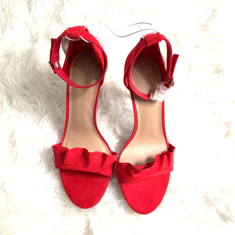 A New Day Red Ruffle Heels NWT- Size 6
