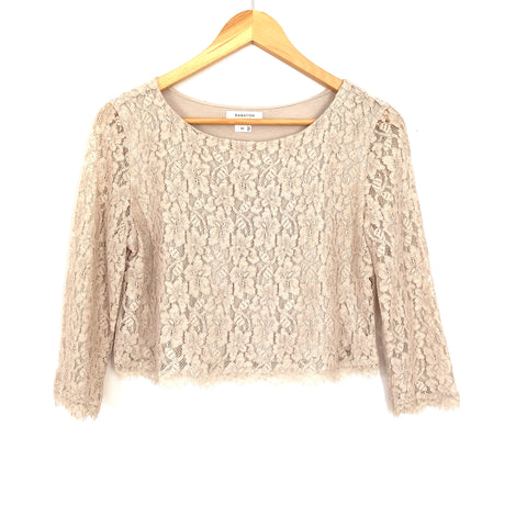 Babaton Taupe Lace 3/4 Sleeve Crop Top- Size XS