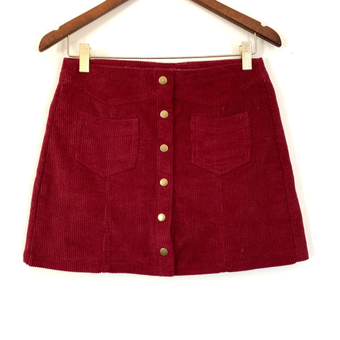 Pink Lily Burgundy Corduroy Button Up Skirt- Size S