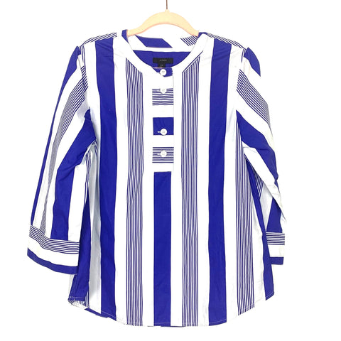 J Crew Blue and White Striped Half Button Wide Sleeve Top- Size XS
