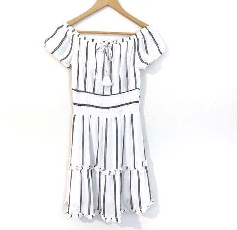 American Eagle Off the Shoulder White and Blue Striped Dress NWT- Size XS