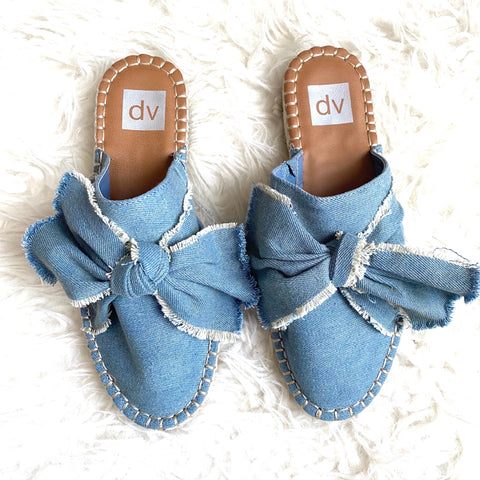 Dolce Vita Denim Bow Mules- Size 7.5