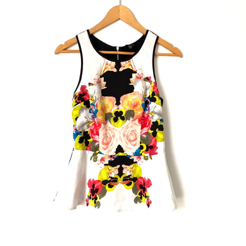 2b Bebe White Floral Tank Top- Size S (see notes)