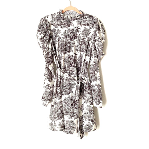 Shein Printed Mock Neck Gigot Sleeve Belted Dress- Size L