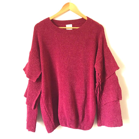 Mint Julep Red Wine Ruffle Sleeve Sweater- Size S