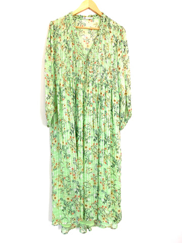 Zara Light Green Floral Maxi Dress with Metallic Details- Size S