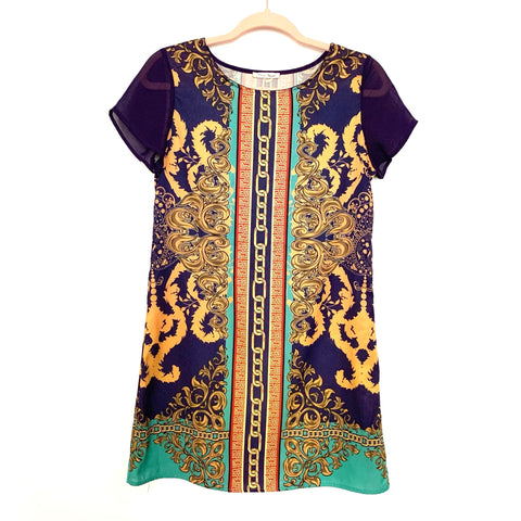 Honey Punch Purple and Gold Printed Dress- Size S