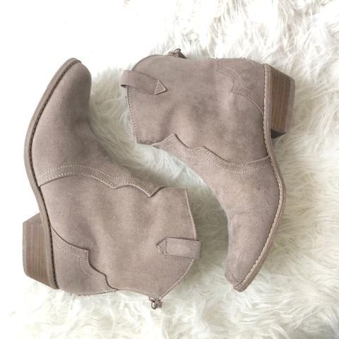 Old Navy Tan Suede-like Cowgirl Booties with Zipper Back- Size 8