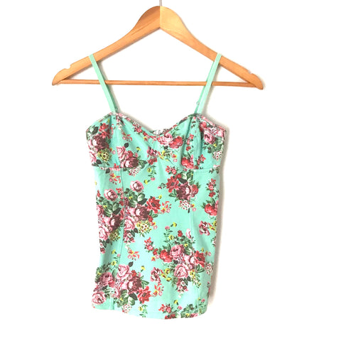 Turquoise Floral Structured Camisole- Size S