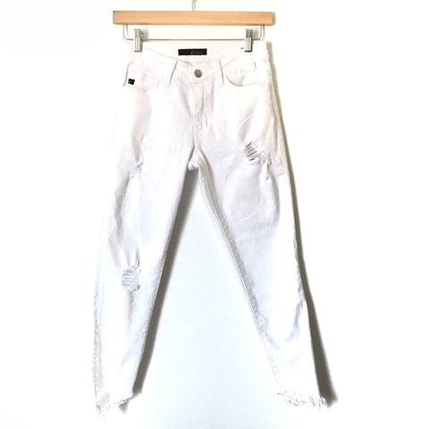 "Kancan White Distressed Cropped Angled Raw Hem Jeans- Size 25 (Inseam 23"")"