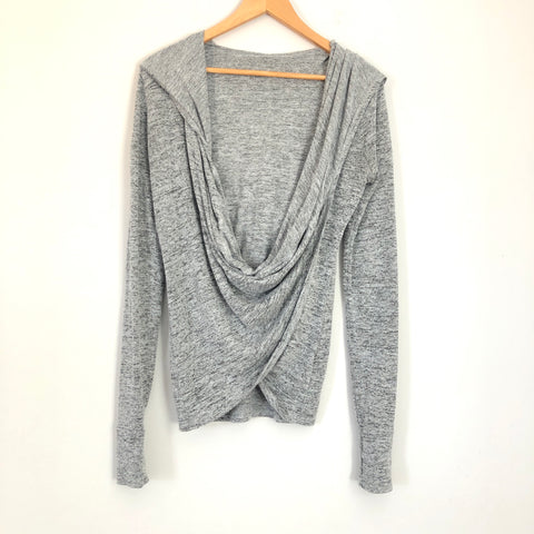 Zella Hooded Heathered Grey Long Sleeve Cross Front Top- Size XS