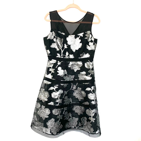 Kay Unger Black Silver Floral Lined Cocktail Dress- Size 8