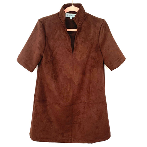 Tuckernuck Brown Suede V-Neck Stand Collar Dress- Size M