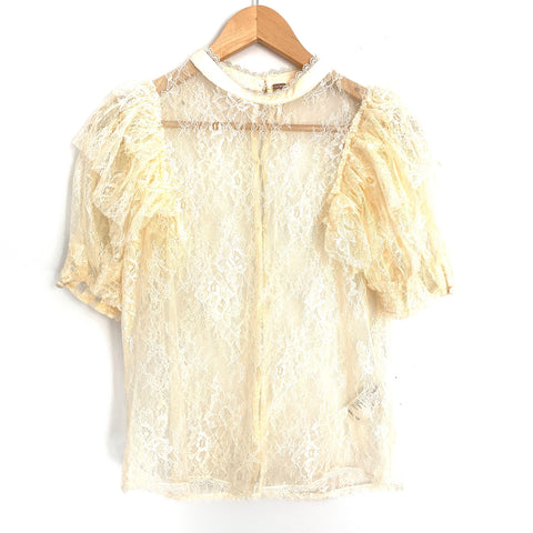 Free People Cream Lace Mock Neck Blouse with Ruffle Tiered Sleeves- Size XS (comes with tank!)
