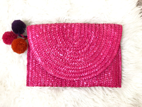 Shiraleah Chicago Pink Pompom Clutch