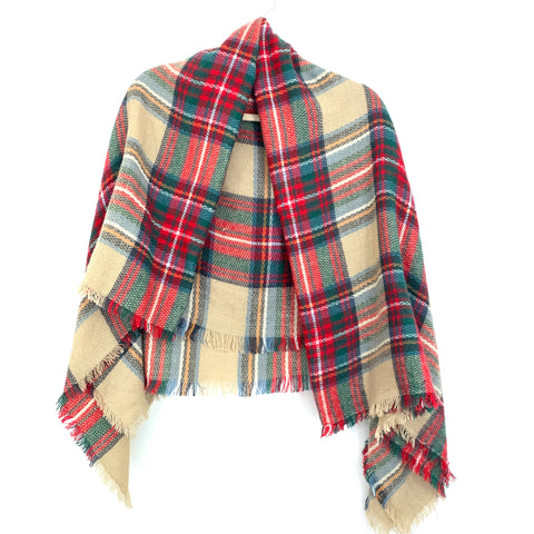 No Brand Green & Red Blanket Scarf