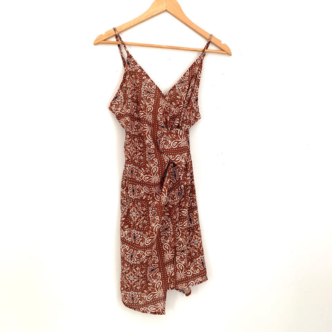 Vestique Brown Wrap Dress with Paisley Pattern NWT- Size S