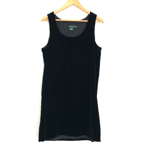 J Crew Black Velvet Tank Dress- Size 10