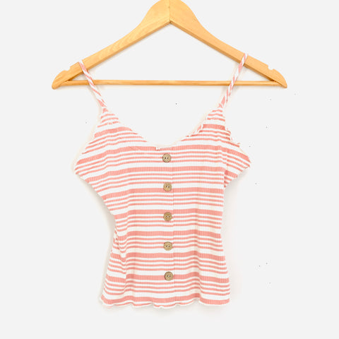 Love Tree Light Pink Striped Ribbed Crop Top- Size S