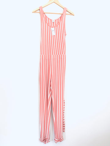LOFT Pink and White Striped Jumpsuit NWT- Size XS