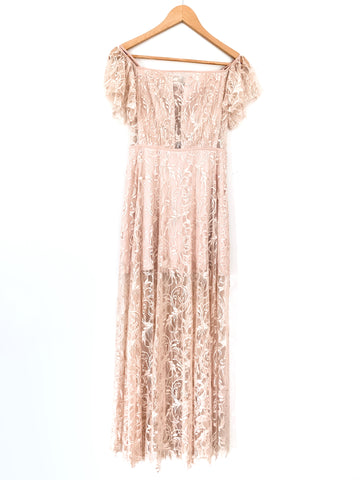 Bebe Blush Pink Lace Maxi Dress with Lining Off the Shoulder- Size 00P