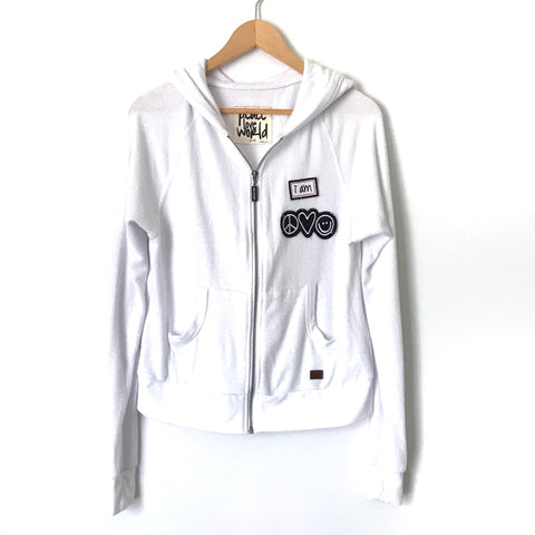 Peace Love World White Zip-up Hoodie with Badges- Size S