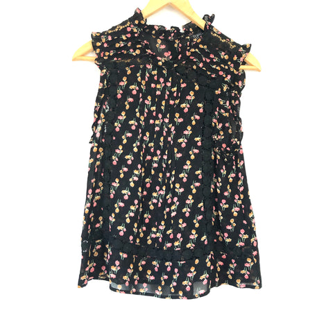TOPSHOP Floral Pleated Crochet Detail Top- Size 4