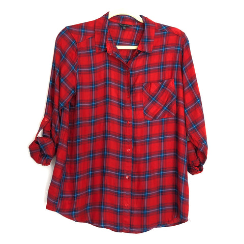 Staccato Red Plaid Button Up- Size S