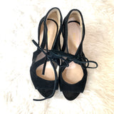 Nine West Black Suede Mesh Tie Heels- Size 6