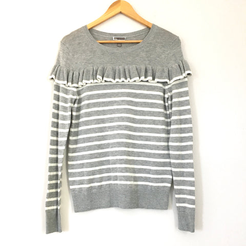 Chelsea 28 Grey Striped Ruffle Front Sweater- Size S