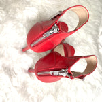 Steven by Steve Madden Red Leather Heel with Silver Buckle Detail- Size 6