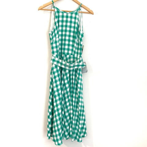 Eliza J Green Gingham Belted Dress NWT- Size 0