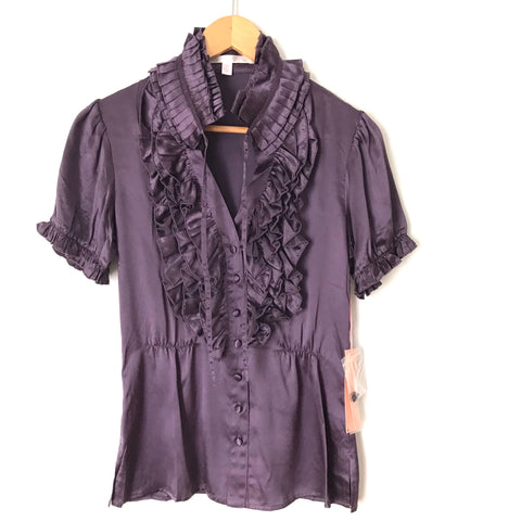 Jenny Han Purple Ruffle Button Up Blouse NWT- Size XS