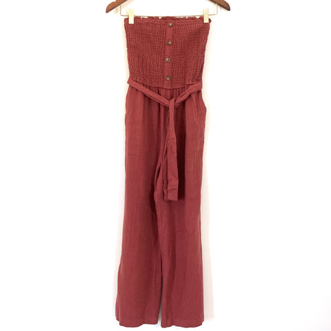Abercrombie & Fitch Burgundy Smocked Strapless Jumpsuit- Size XS