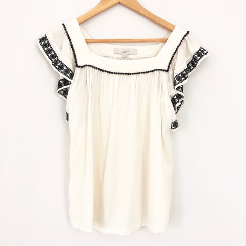 LOFT Cream Black Embroidered Flutter Sleeve Blouse- Size XS
