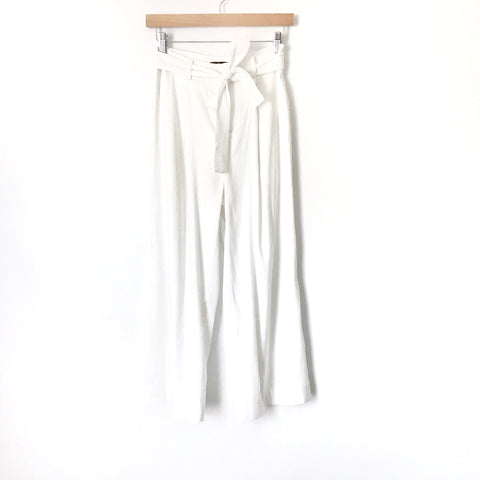 "Laundry White Paperbag Waist Cropped Wide Leg Pants- Size 2 (Inseam 22.5"")"
