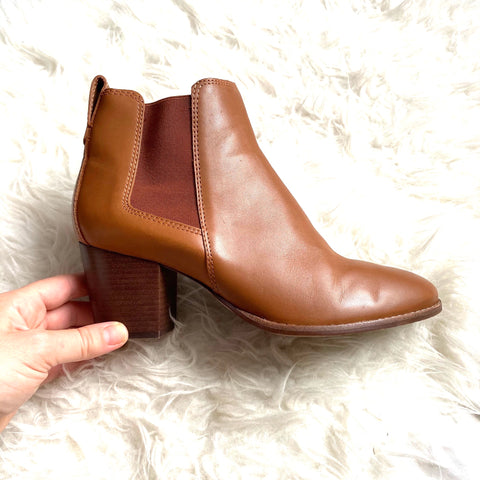 Madewell Brown Leather Block Heel Booties- Size 9 (Great condition!)