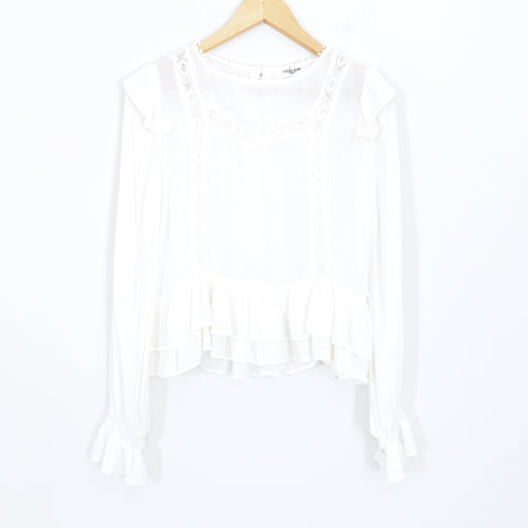 Carly Jean White Peasant Style Blouse with Ruffle Hem- Size S