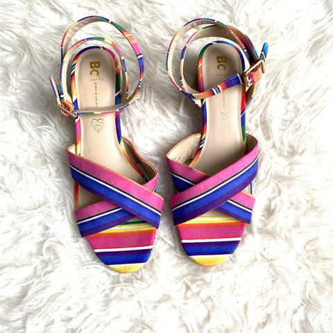 BC Colorful Ankle Strap Block Heels- Size 11