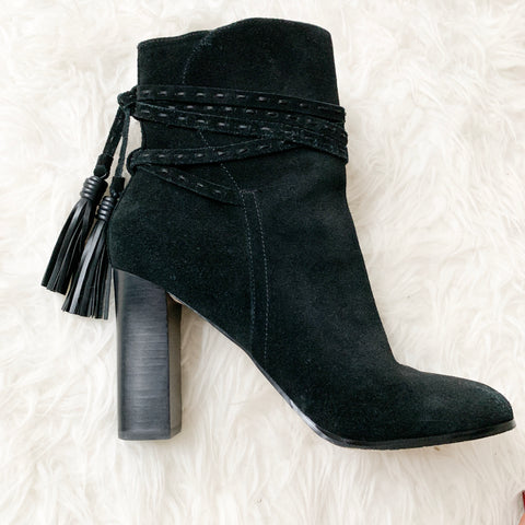 Sale Fifth Avenue Black Suede Booties with Wrap Strap- Size 9