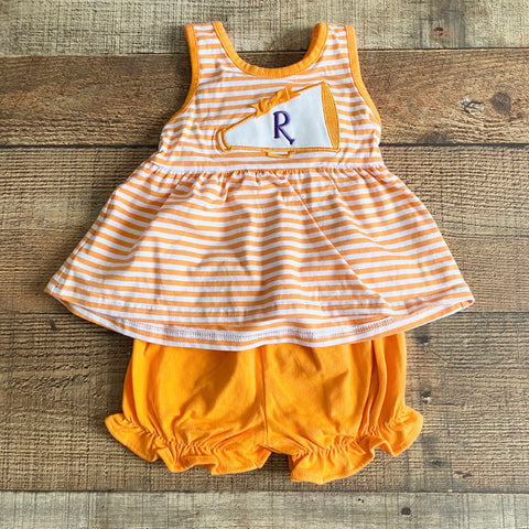 "Classic Whimsy Orange and White Monogrammed ""R"" Cheerleader Megaphone Short Set- Size 9M"