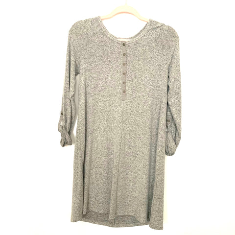 Z Supply Heathered Grey Button Up Roll Tab Sleeve Super Soft Dress NWT- Size S