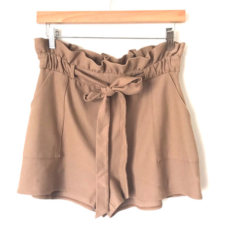 Express Coffee Paperbag Waist Shorts- Size S