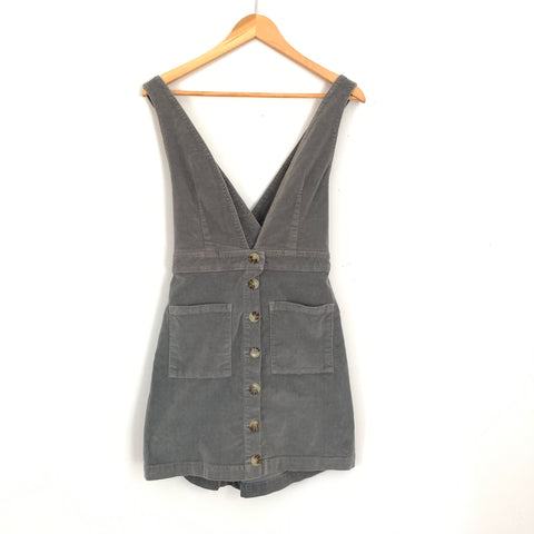 Show Me Your Mumu Connelly Overall Dress in Grey Corduroy- Size S